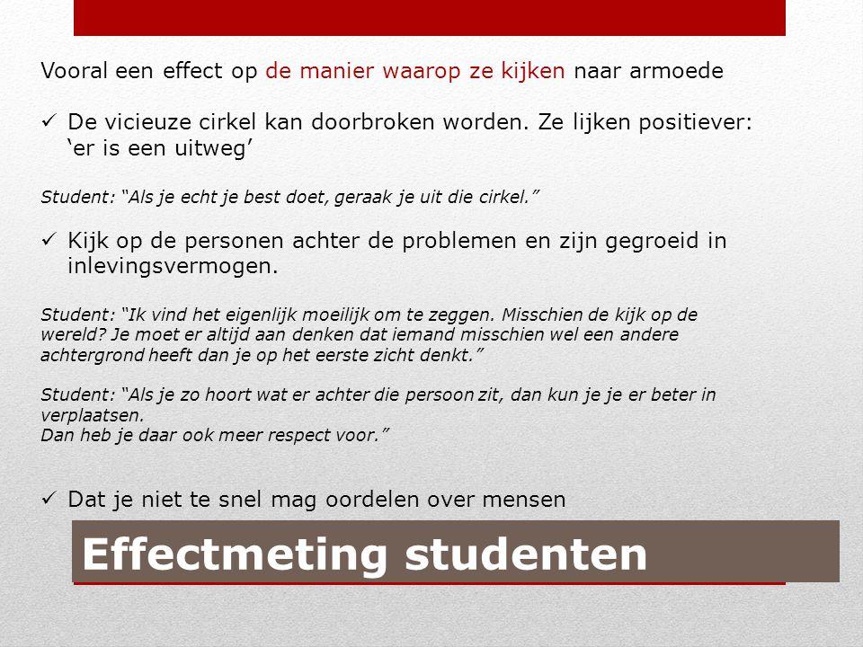 Effectmeting studenten Vooral een effect op de manier waarop ze kijken naar armoede De vicieuze cirkel kan doorbroken worden.