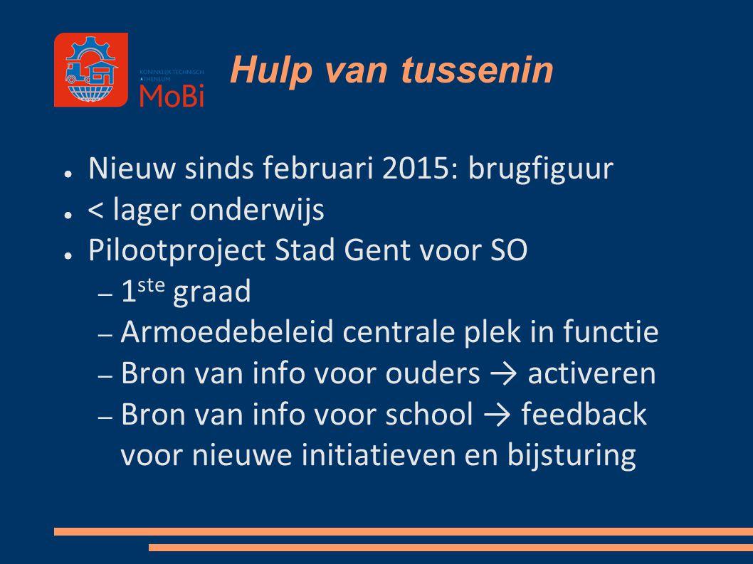 Hulp van tussenin ● Nieuw sinds februari 2015: brugfiguur ● < lager onderwijs ● Pilootproject Stad Gent voor SO – 1 ste graad – Armoedebeleid centrale