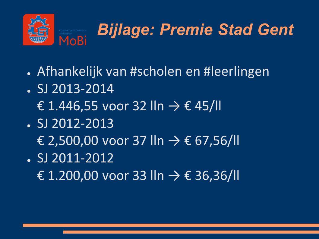 Bijlage: Premie Stad Gent ● Afhankelijk van #scholen en #leerlingen ● SJ 2013-2014 € 1.446,55 voor 32 lln → € 45/ll ● SJ 2012-2013 € 2,500,00 voor 37
