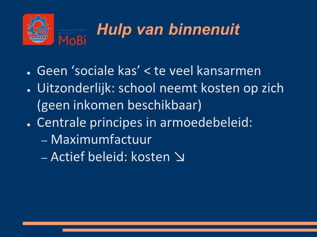 Hulp van binnenuit ● Geen 'sociale kas' < te veel kansarmen ● Uitzonderlijk: school neemt kosten op zich (geen inkomen beschikbaar) ● Centrale princip