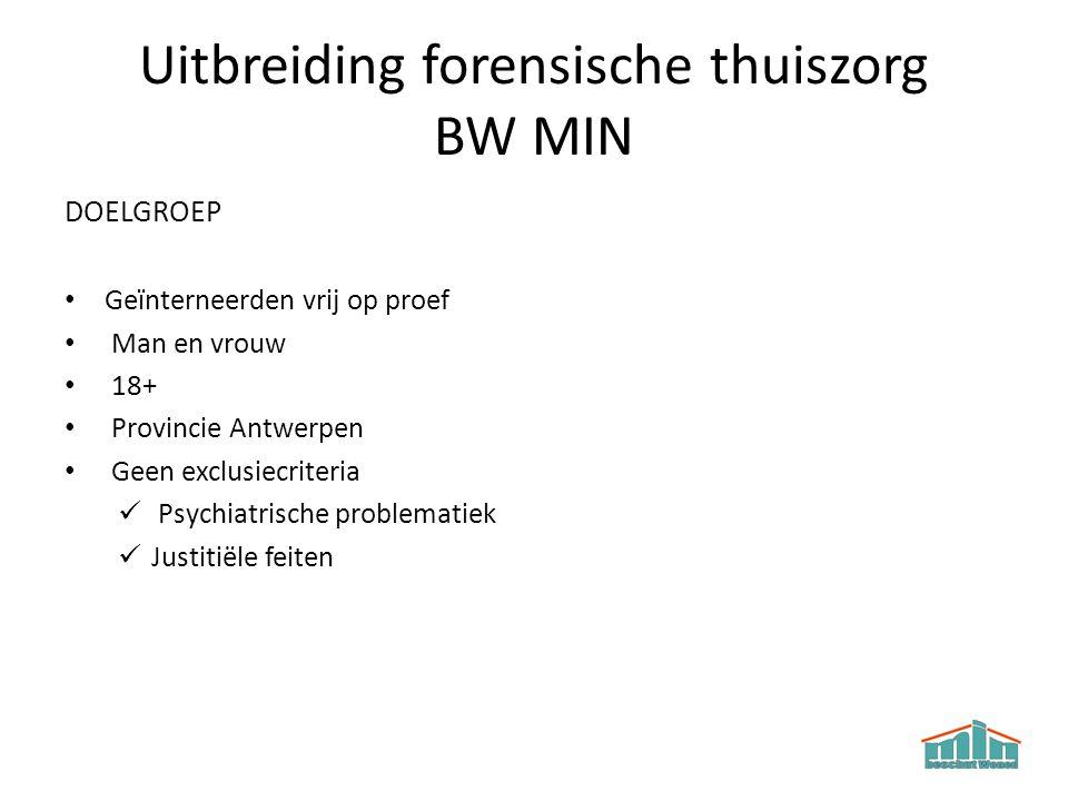 Uitbreiding forensische thuiszorg BW MIN DOELGROEP Geïnterneerden vrij op proef Man en vrouw 18+ Provincie Antwerpen Geen exclusiecriteria Psychiatris