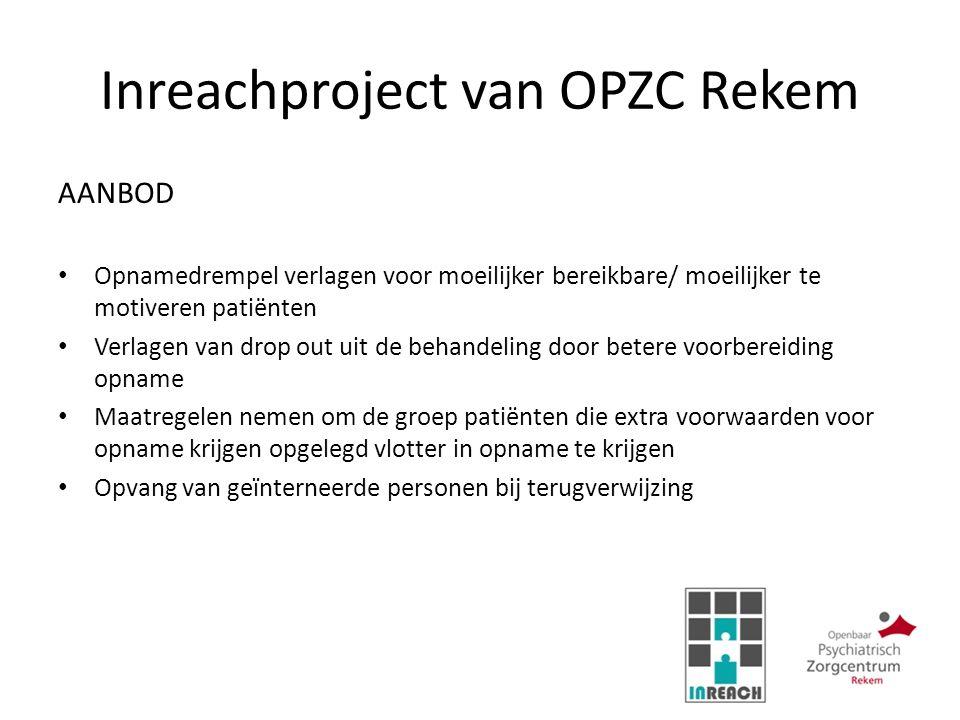 Inreachproject van OPZC Rekem AANBOD Opnamedrempel verlagen voor moeilijker bereikbare/ moeilijker te motiveren patiënten Verlagen van drop out uit de