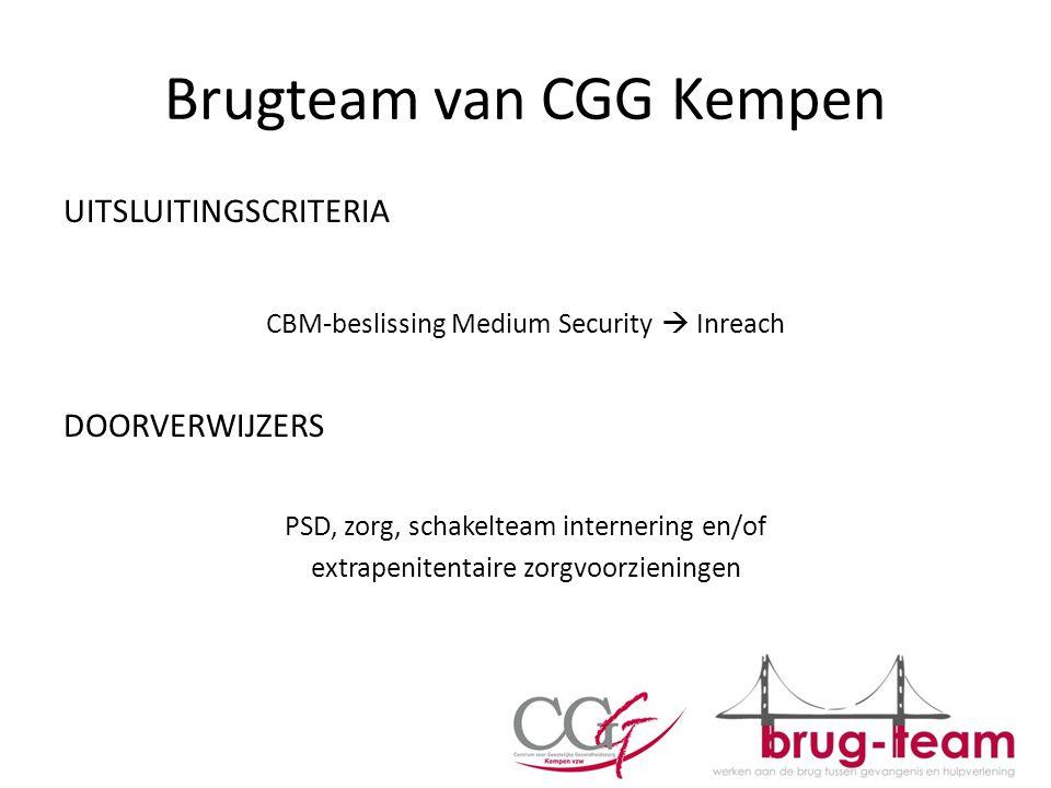 Brugteam van CGG Kempen UITSLUITINGSCRITERIA CBM-beslissing Medium Security  Inreach DOORVERWIJZERS PSD, zorg, schakelteam internering en/of extrapen