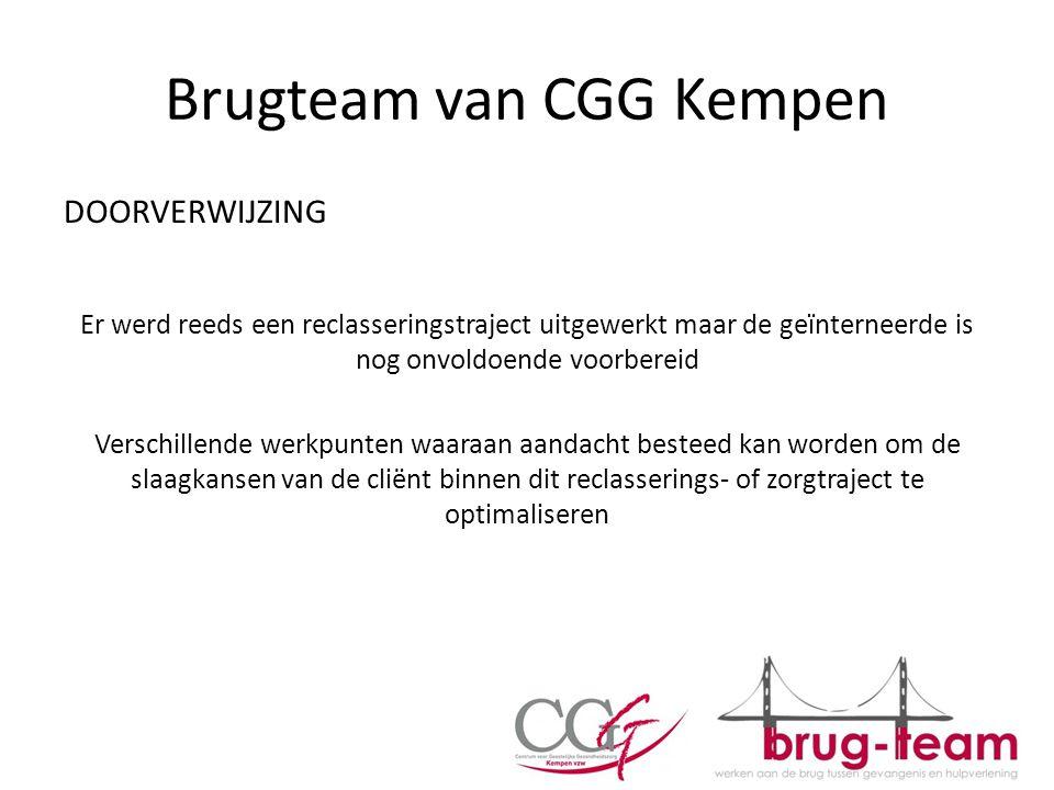 Brugteam van CGG Kempen DOORVERWIJZING Er werd reeds een reclasseringstraject uitgewerkt maar de geïnterneerde is nog onvoldoende voorbereid Verschill