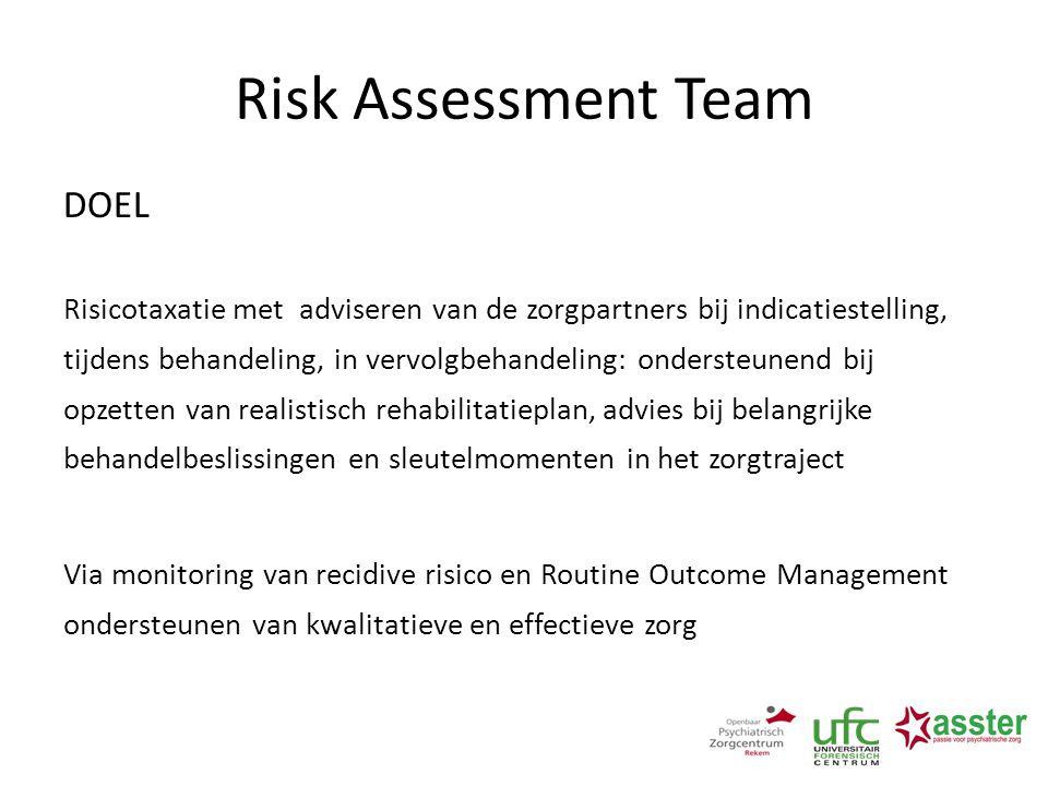 Risk Assessment Team DOEL Risicotaxatie met adviseren van de zorgpartners bij indicatiestelling, tijdens behandeling, in vervolgbehandeling: ondersteu