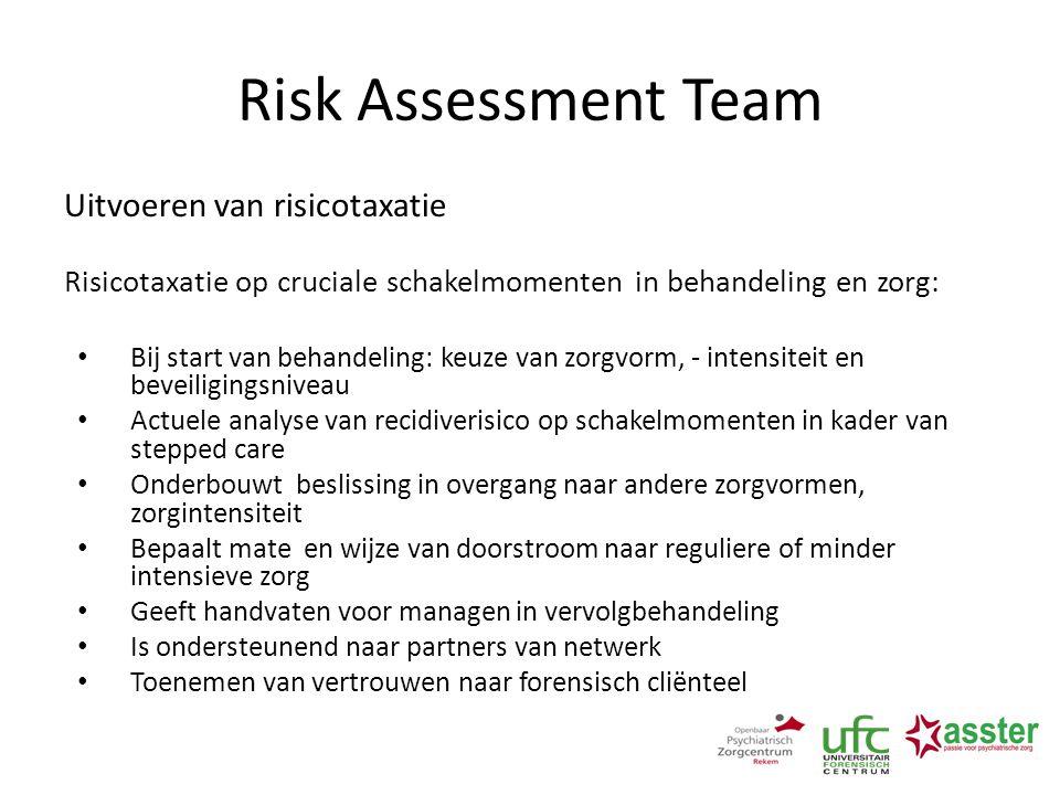 Risk Assessment Team Uitvoeren van risicotaxatie Risicotaxatie op cruciale schakelmomenten in behandeling en zorg: Bij start van behandeling: keuze va