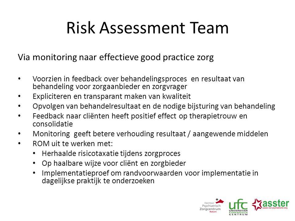 Risk Assessment Team Via monitoring naar effectieve good practice zorg Voorzien in feedback over behandelingsproces en resultaat van behandeling voor