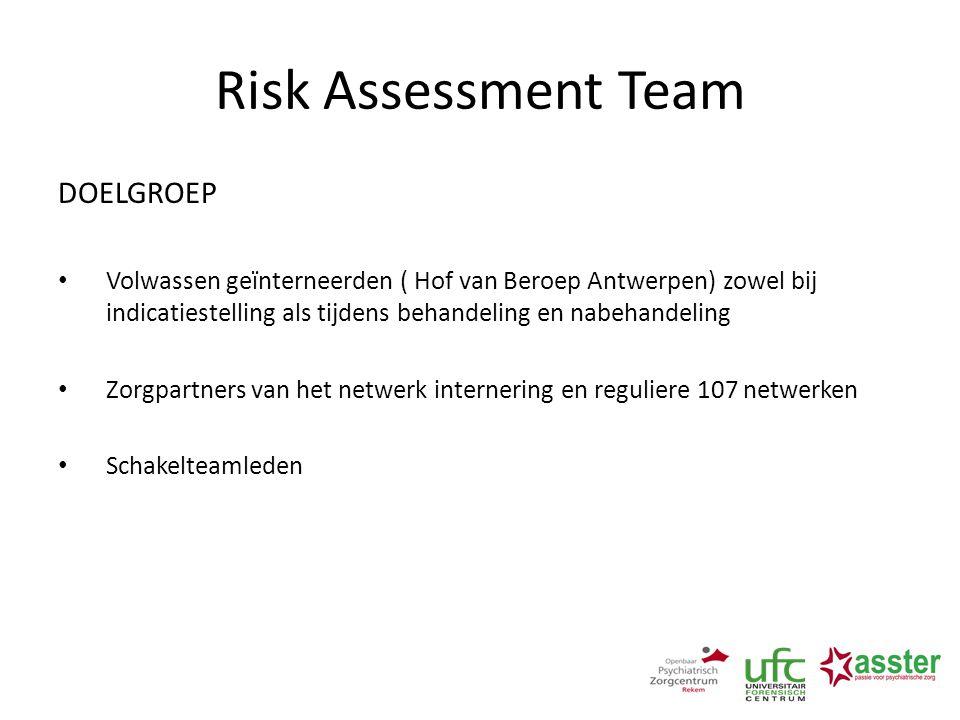 Risk Assessment Team DOELGROEP Volwassen geïnterneerden ( Hof van Beroep Antwerpen) zowel bij indicatiestelling als tijdens behandeling en nabehandeli