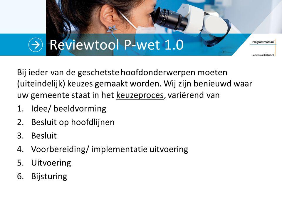 Reviewtool P-wet 1.0 Bij ieder van de geschetste hoofdonderwerpen moeten (uiteindelijk) keuzes gemaakt worden.