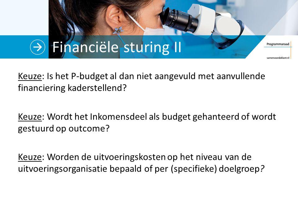Financiële sturing II Keuze: Is het P-budget al dan niet aangevuld met aanvullende financiering kaderstellend.