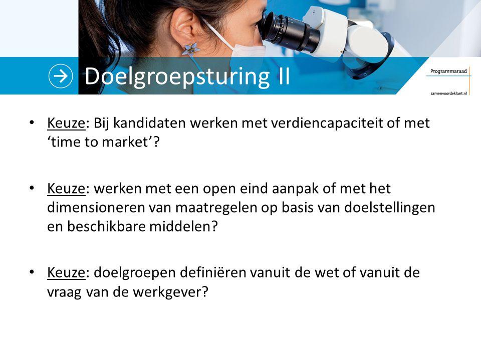 Doelgroepsturing II Keuze: Bij kandidaten werken met verdiencapaciteit of met 'time to market'.