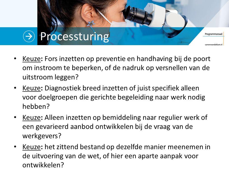 Processturing Keuze: Fors inzetten op preventie en handhaving bij de poort om instroom te beperken, of de nadruk op versnellen van de uitstroom leggen.