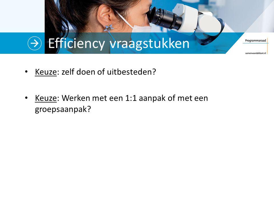 Efficiency vraagstukken Keuze: zelf doen of uitbesteden.