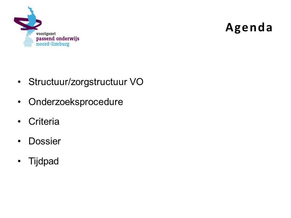 Agenda Structuur/zorgstructuur VO Onderzoeksprocedure Criteria Dossier Tijdpad
