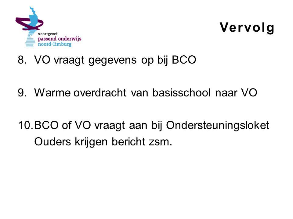 Vervolg 8.VO vraagt gegevens op bij BCO 9.Warme overdracht van basisschool naar VO 10.BCO of VO vraagt aan bij Ondersteuningsloket Ouders krijgen bericht zsm.