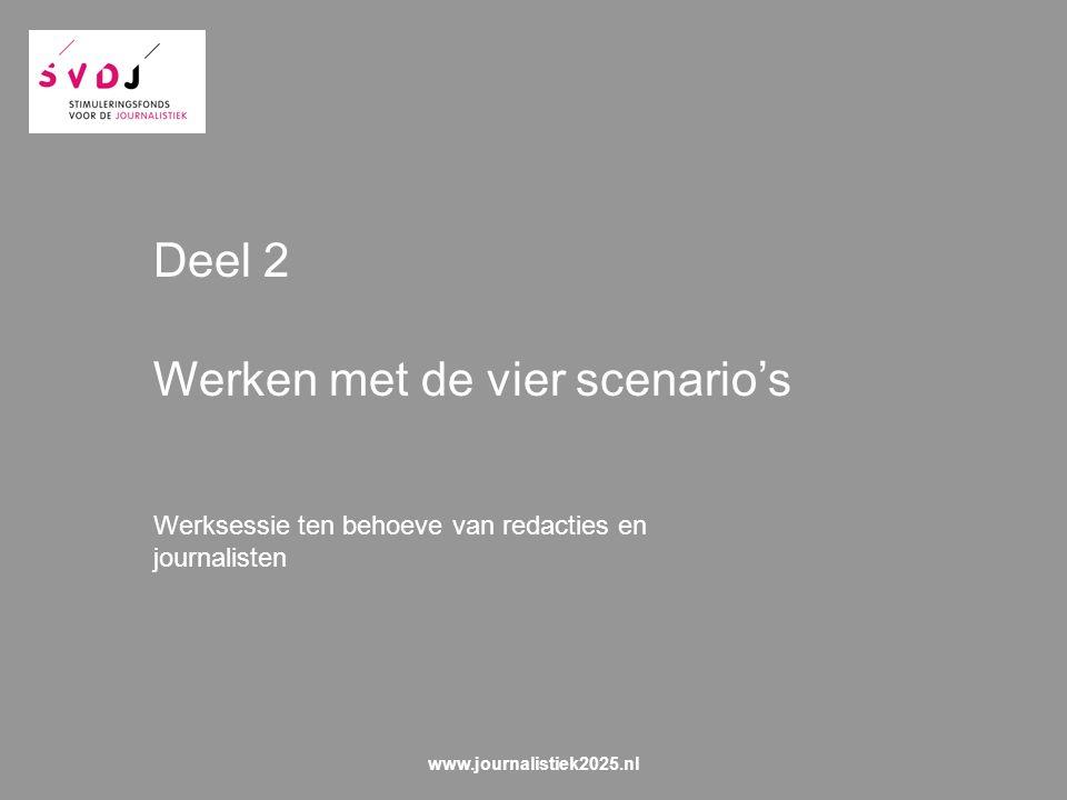 Deel 2 Werken met de vier scenario's Werksessie ten behoeve van redacties en journalisten www.journalistiek2025.nl