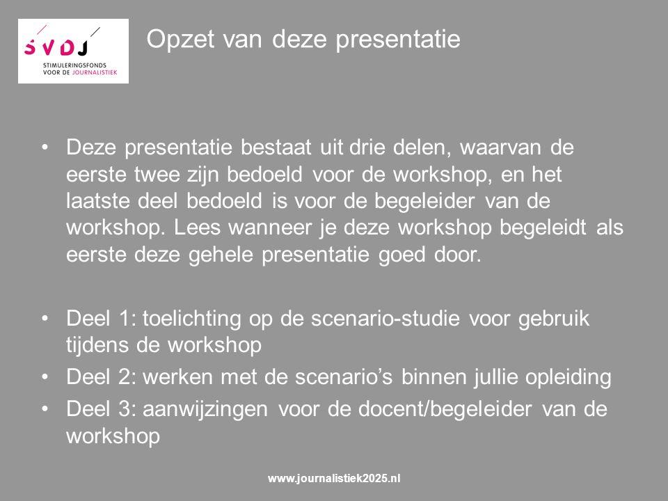 Opzet van deze presentatie Deze presentatie bestaat uit drie delen, waarvan de eerste twee zijn bedoeld voor de workshop, en het laatste deel bedoeld is voor de begeleider van de workshop.