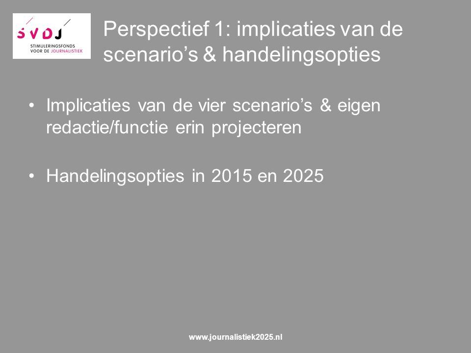 Perspectief 1: implicaties van de scenario's & handelingsopties Implicaties van de vier scenario's & eigen redactie/functie erin projecteren Handelingsopties in 2015 en 2025 www.journalistiek2025.nl