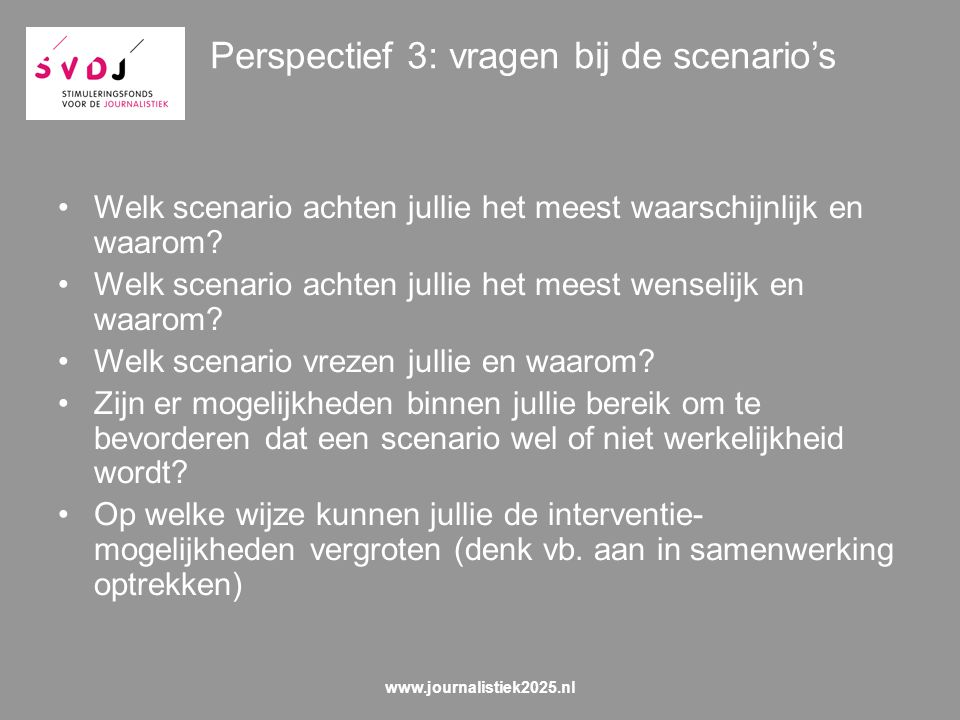 Perspectief 3: vragen bij de scenario's Welk scenario achten jullie het meest waarschijnlijk en waarom.