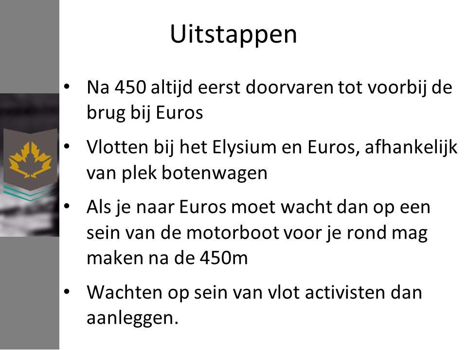 Uitstappen Na 450 altijd eerst doorvaren tot voorbij de brug bij Euros Vlotten bij het Elysium en Euros, afhankelijk van plek botenwagen Als je naar Euros moet wacht dan op een sein van de motorboot voor je rond mag maken na de 450m Wachten op sein van vlot activisten dan aanleggen.