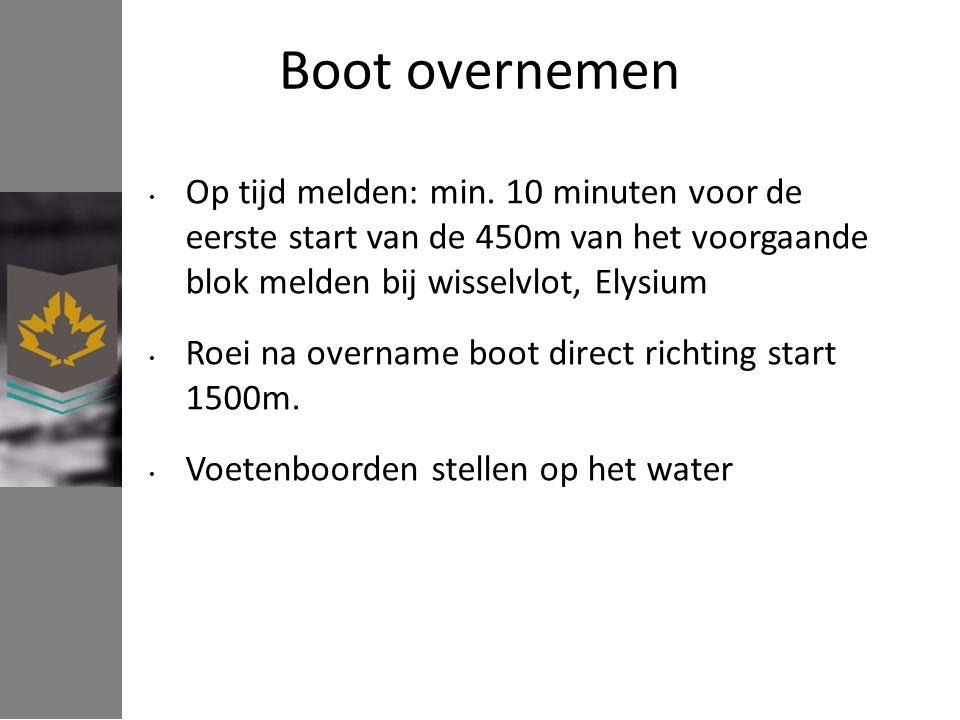 Boot overnemen Op tijd melden: min. 10 minuten voor de eerste start van de 450m van het voorgaande blok melden bij wisselvlot, Elysium Roei na overnam