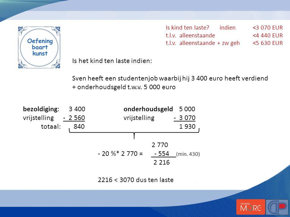 Is het kind ten laste indien: Sven heeft een studentenjob waarbij hij 3 400 euro heeft verdiend + onderhoudsgeld t.w.v.