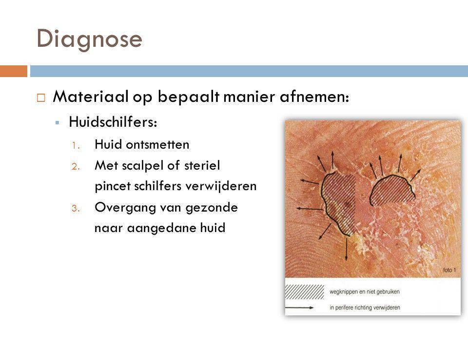 Diagnose  Materiaal op bepaalt manier afnemen:  Huidschilfers: 1. Huid ontsmetten 2. Met scalpel of steriel pincet schilfers verwijderen 3. Overgang