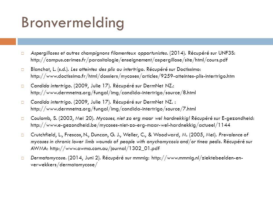Bronvermelding  Aspergilloses et autres champignons filamenteux opportunistes. (2014). Récupéré sur UNF3S: http://campus.cerimes.fr/parasitologie/ens