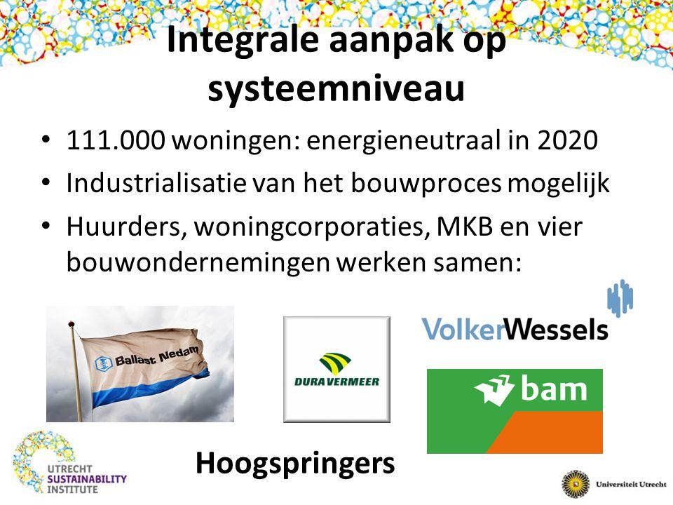 Integrale aanpak op systeemniveau 111.000 woningen: energieneutraal in 2020 Industrialisatie van het bouwproces mogelijk Huurders, woningcorporaties,