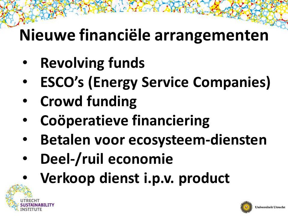 Nieuwe financiële arrangementen Revolving funds ESCO's (Energy Service Companies) Crowd funding Coöperatieve financiering Betalen voor ecosysteem-diensten Deel-/ruil economie Verkoop dienst i.p.v.