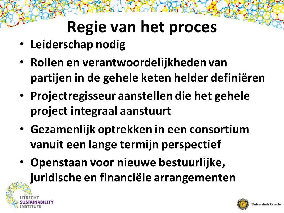 Regie van het proces Leiderschap nodig Rollen en verantwoordelijkheden van partijen in de gehele keten helder definiëren Projectregisseur aanstellen d