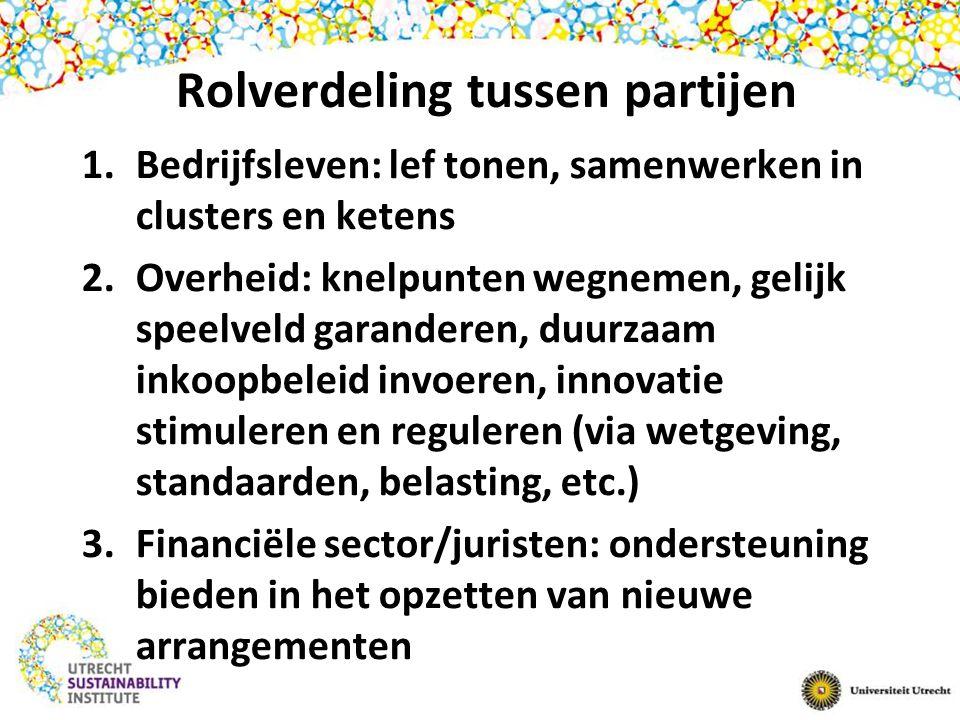 Rolverdeling tussen partijen 1.Bedrijfsleven: lef tonen, samenwerken in clusters en ketens 2.Overheid: knelpunten wegnemen, gelijk speelveld garanderen, duurzaam inkoopbeleid invoeren, innovatie stimuleren en reguleren (via wetgeving, standaarden, belasting, etc.) 3.Financiële sector/juristen: ondersteuning bieden in het opzetten van nieuwe arrangementen