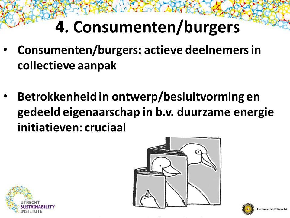 4. Consumenten/burgers Consumenten/burgers: actieve deelnemers in collectieve aanpak Betrokkenheid in ontwerp/besluitvorming en gedeeld eigenaarschap