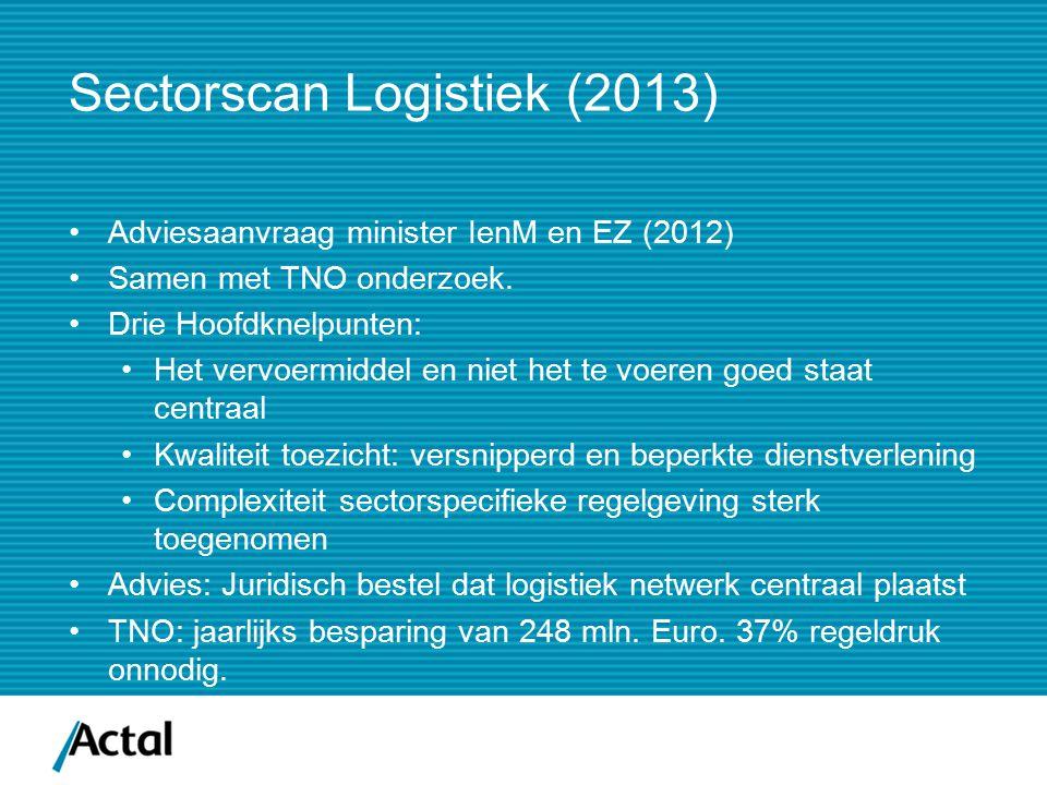 Sectorscan Logistiek (2013) Adviesaanvraag minister IenM en EZ (2012) Samen met TNO onderzoek. Drie Hoofdknelpunten: Het vervoermiddel en niet het te
