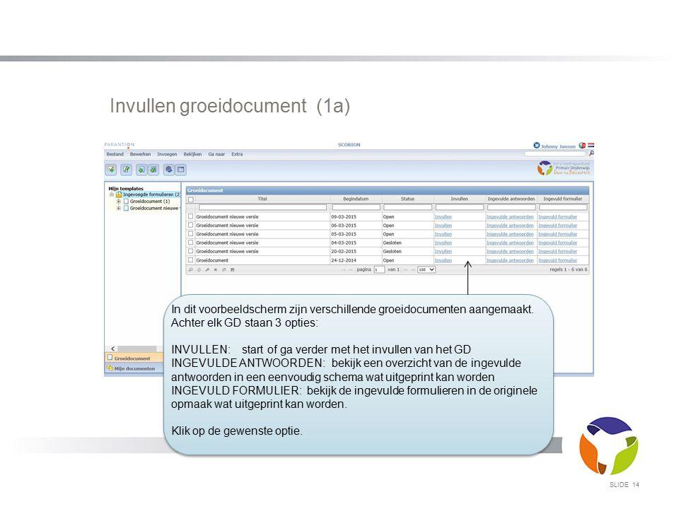 Invullen groeidocument (1a) SLIDE 14 In dit voorbeeldscherm zijn verschillende groeidocumenten aangemaakt. Achter elk GD staan 3 opties: INVULLEN: sta