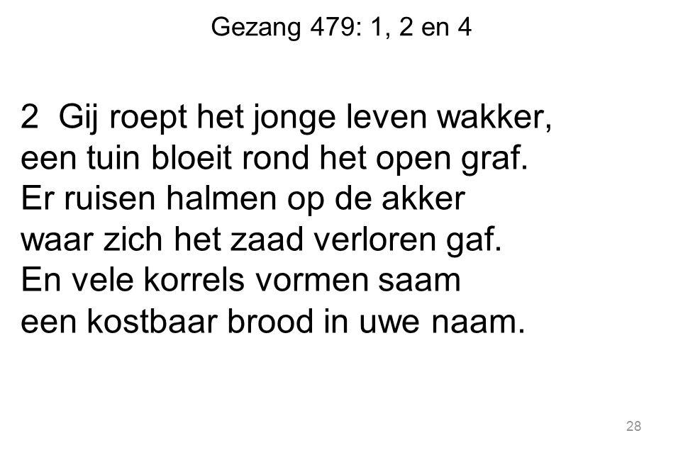 Gezang 479: 1, 2 en 4 2 Gij roept het jonge leven wakker, een tuin bloeit rond het open graf.