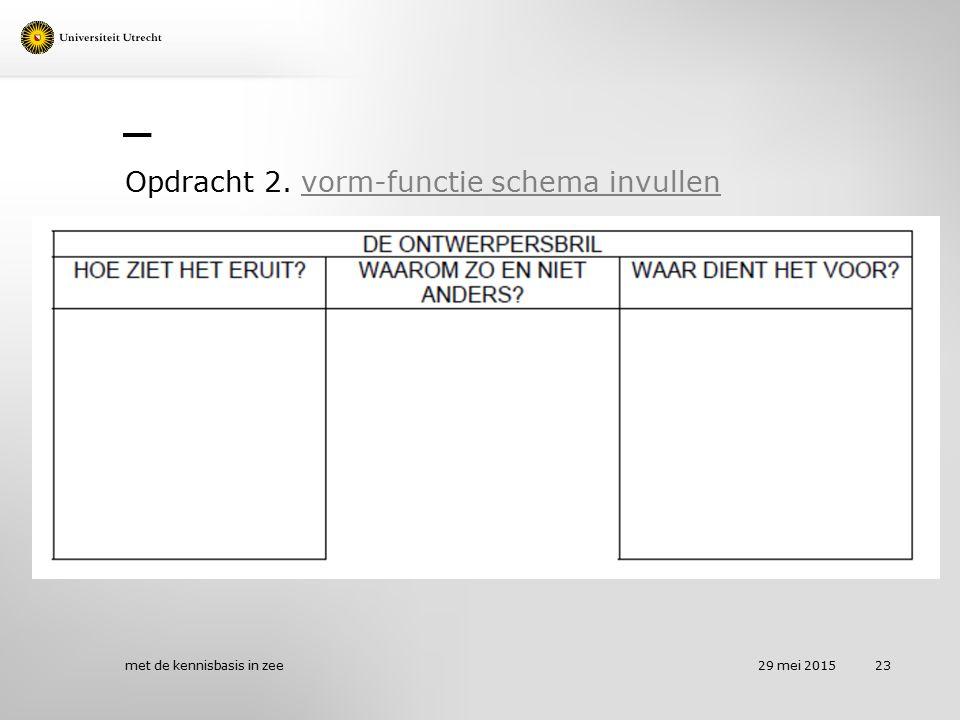 Opdracht 2. vorm-functie schema invullenvorm-functie schema invullen 29 mei 2015 met de kennisbasis in zee 23