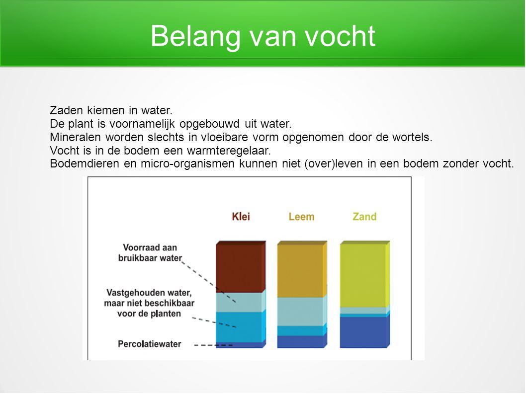 Belang van vocht Zaden kiemen in water. De plant is voornamelijk opgebouwd uit water. Mineralen worden slechts in vloeibare vorm opgenomen door de wor