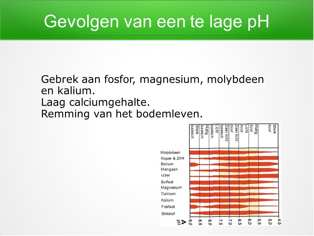 Gevolgen van een te lage pH Gebrek aan fosfor, magnesium, molybdeen en kalium. Laag calciumgehalte. Remming van het bodemleven.