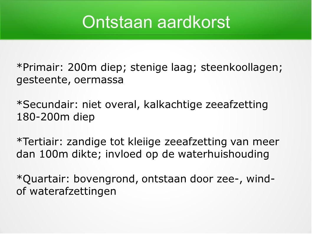 Ontstaan aardkorst *Primair: 200m diep; stenige laag; steenkoollagen; gesteente, oermassa *Secundair: niet overal, kalkachtige zeeafzetting 180-200m d
