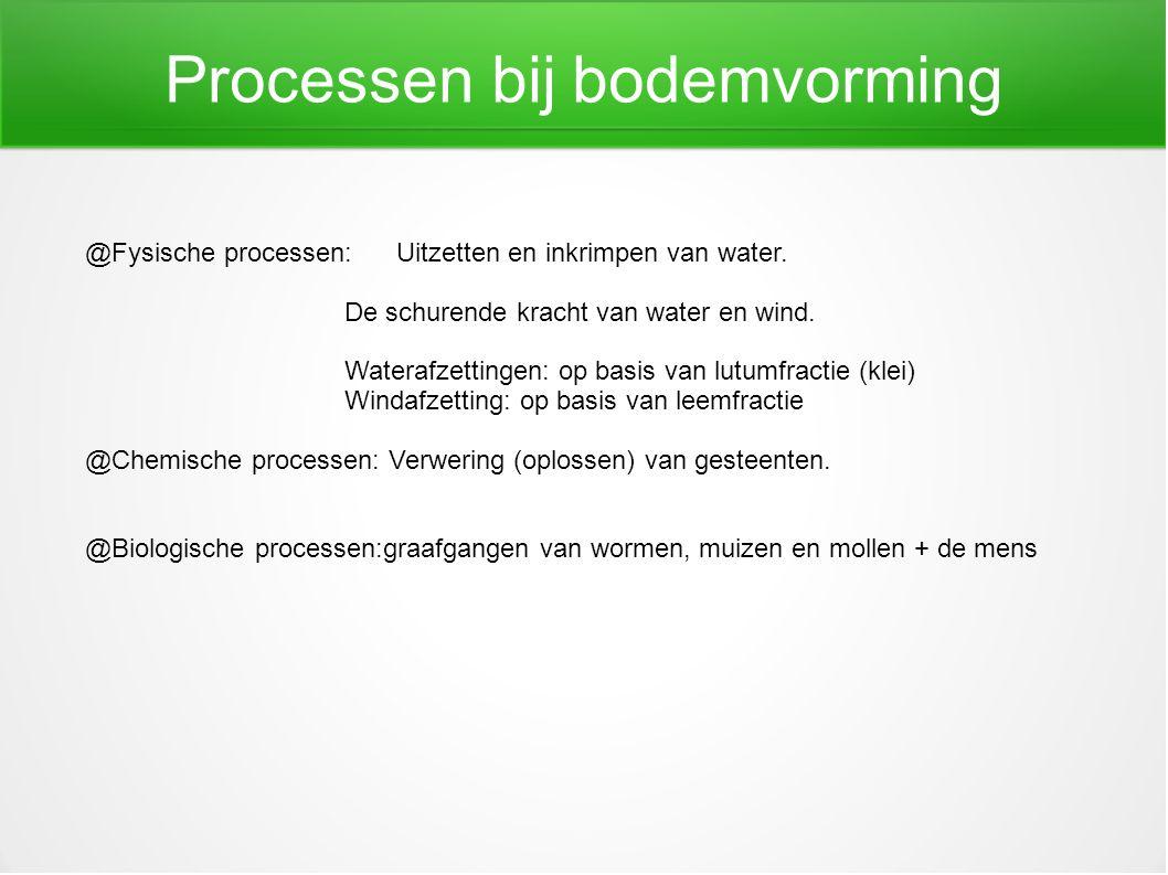 Processen bij bodemvorming @Fysische processen: Uitzetten en inkrimpen van water. De schurende kracht van water en wind. Waterafzettingen: op basis va