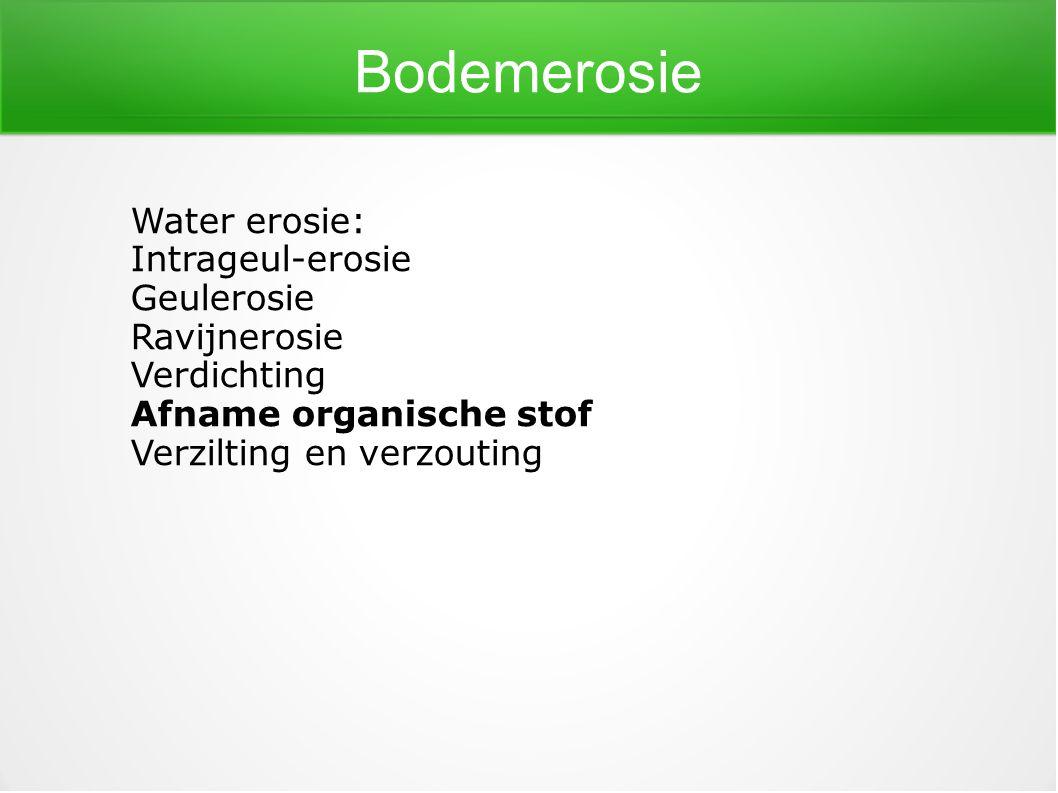 Bodemerosie Water erosie: Intrageul-erosie Geulerosie Ravijnerosie Verdichting Afname organische stof Verzilting en verzouting
