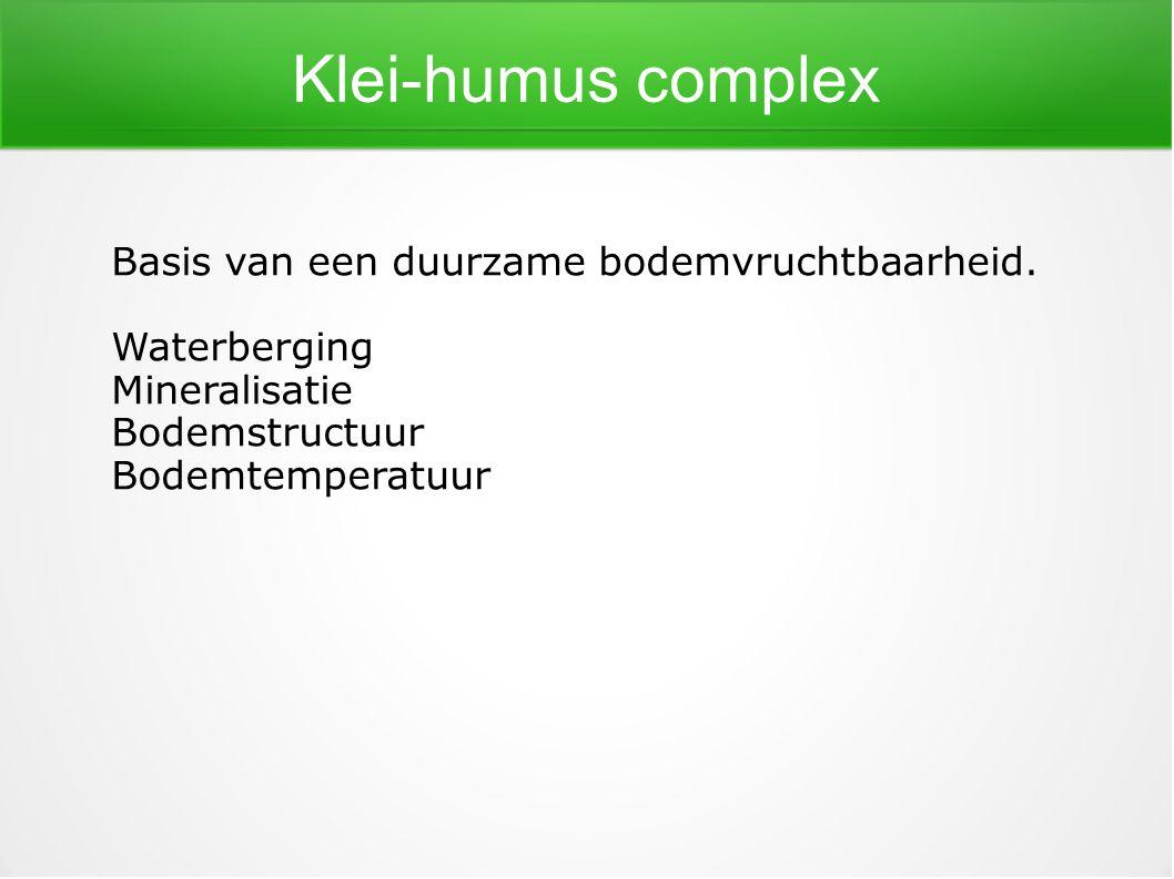 Klei-humus complex Basis van een duurzame bodemvruchtbaarheid. Waterberging Mineralisatie Bodemstructuur Bodemtemperatuur