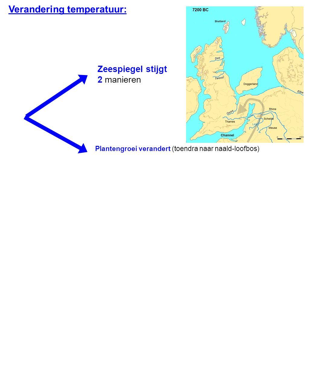 Verandering temperatuur: Zeespiegel stijgt 2 manieren Plantengroei verandert (toendra naar naald-loofbos)