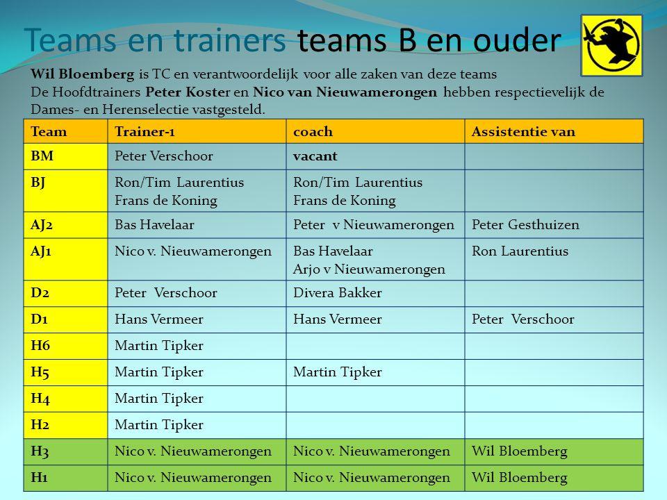 Teams en trainers teams B en ouder 7 TeamTrainer-1coachAssistentie van BMPeter Verschoorvacant BJRon/Tim Laurentius Frans de Koning Ron/Tim Laurentius