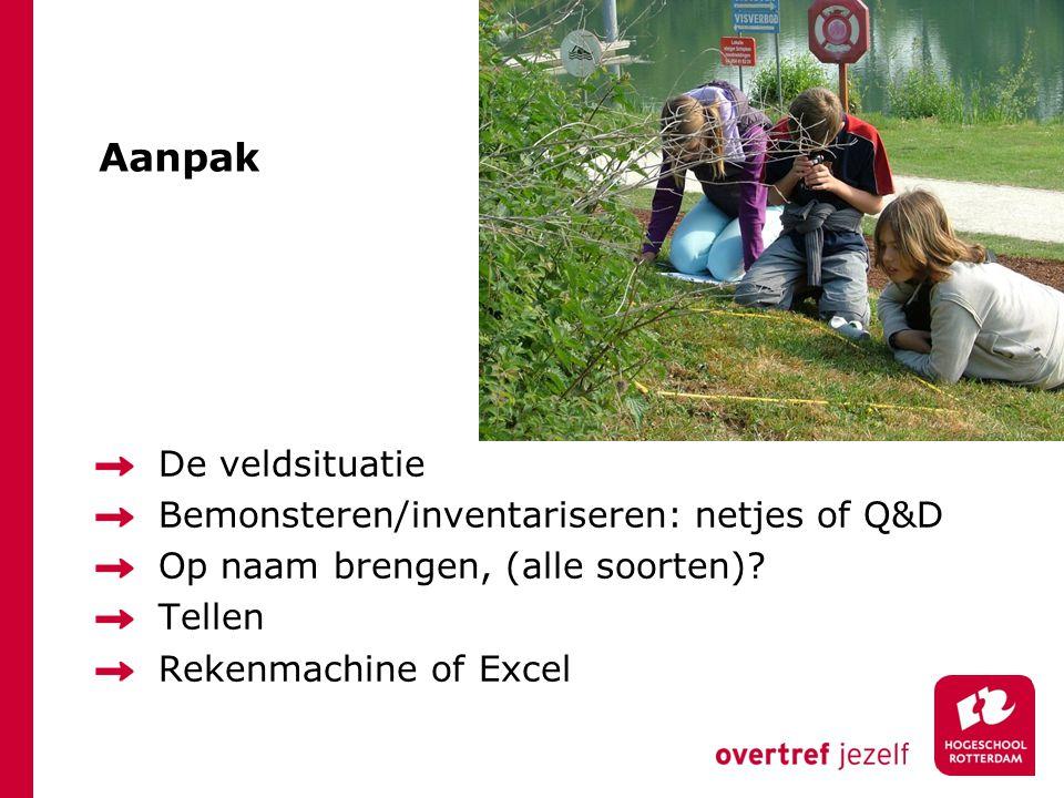 Aanpak De veldsituatie Bemonsteren/inventariseren: netjes of Q&D Op naam brengen, (alle soorten).