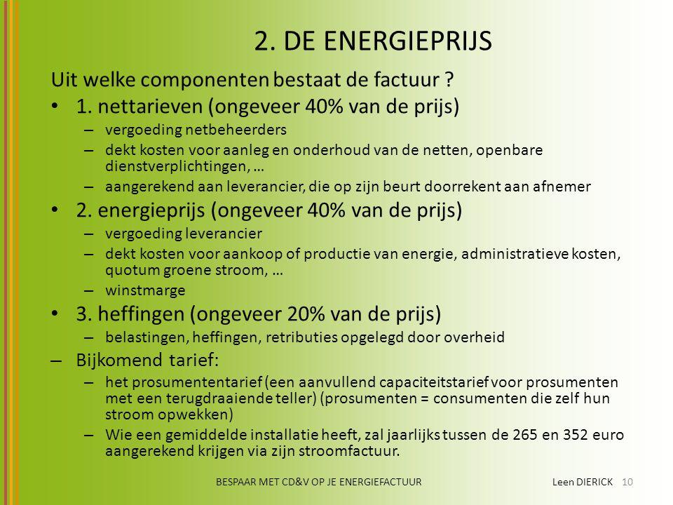 BESPAAR MET CD&V OP JE ENERGIEFACTUUR Leen DIERICK10 2. DE ENERGIEPRIJS Uit welke componenten bestaat de factuur ? 1. nettarieven (ongeveer 40% van de