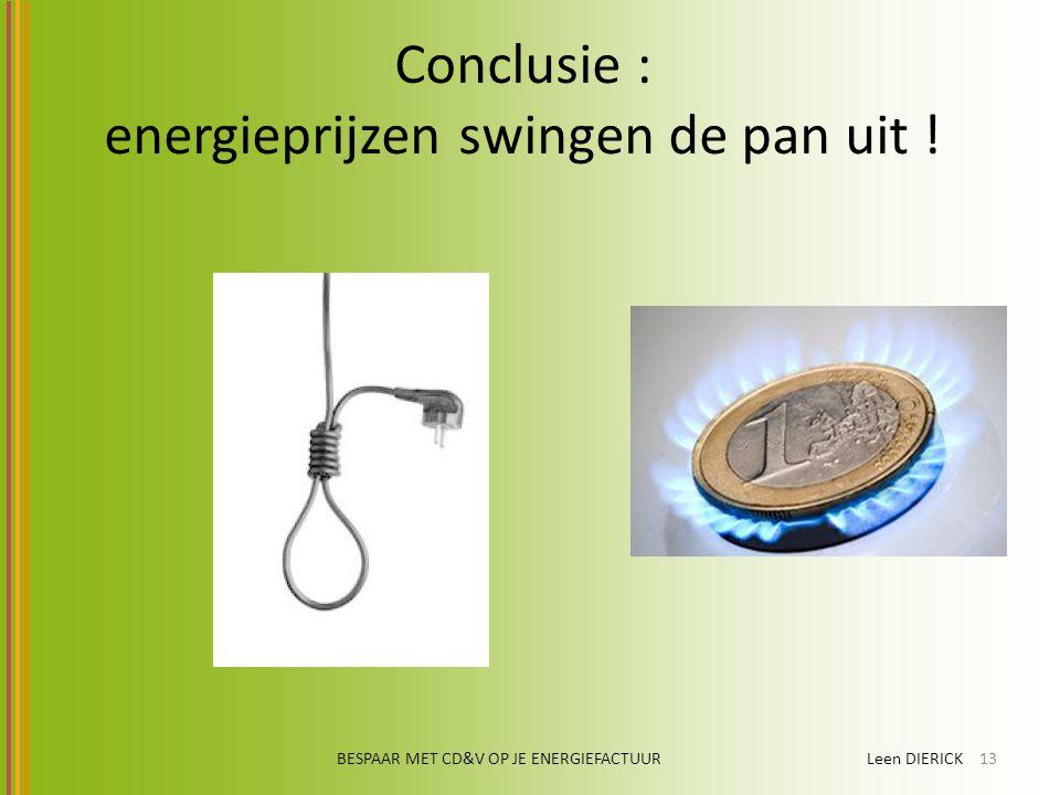 BESPAAR MET CD&V OP JE ENERGIEFACTUUR Leen DIERICK13 Conclusie : energieprijzen swingen de pan uit !