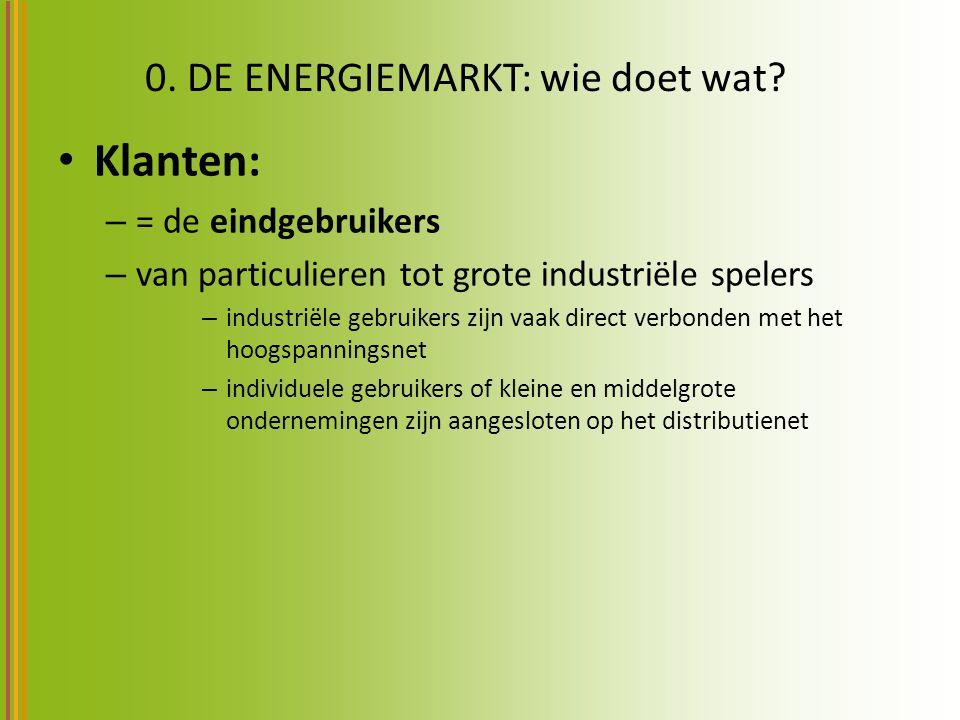 0. DE ENERGIEMARKT: wie doet wat? Klanten: – = de eindgebruikers – van particulieren tot grote industriële spelers – industriële gebruikers zijn vaak