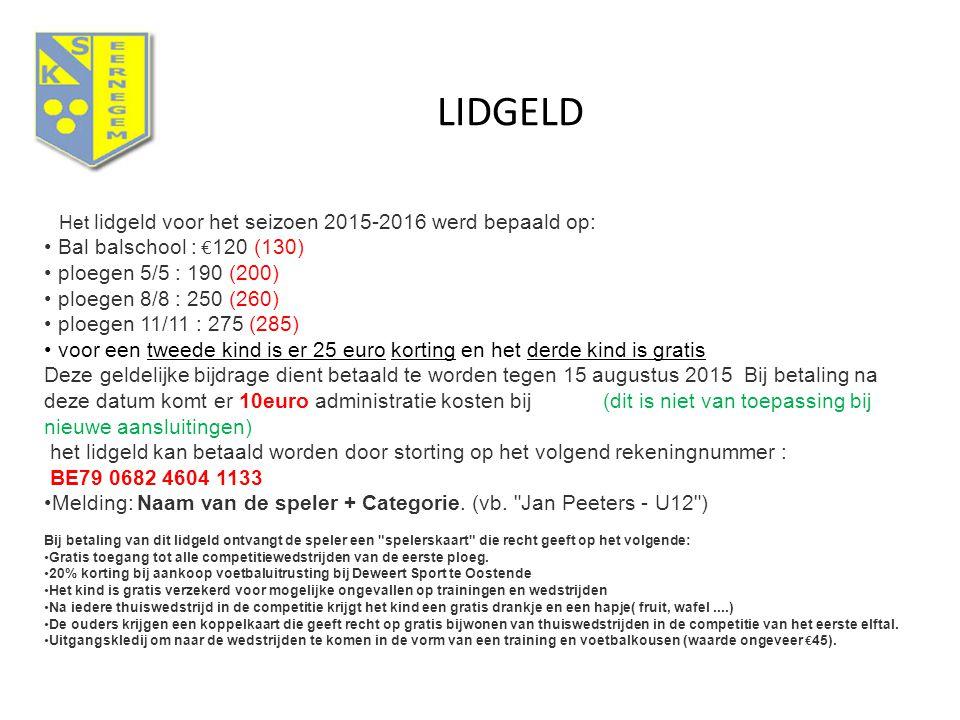 LIDGELD Het lidgeld voor het seizoen 2015-2016 werd bepaald op: Bal balschool : € 120 (130) ploegen 5/5 : 190 (200) ploegen 8/8 : 250 (260) ploegen 11